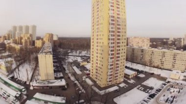 City in morning in winter — Vidéo