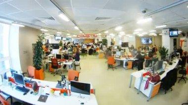 Journalists working at their desks — Stock Video