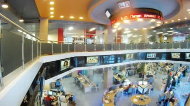 People working in office RIA Novosti — Stock Video