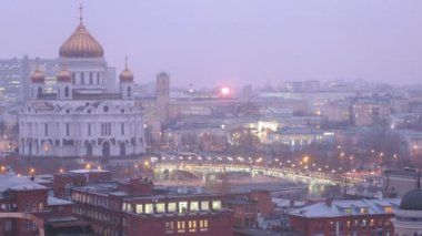 Evening panorama of modern city — Stock Video