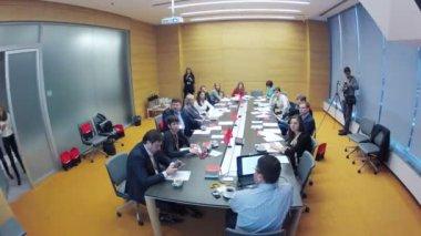 Business breakfast at Corporative communication — Stock Video