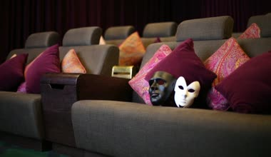 Theatrical masks in movie theater — Stock Video