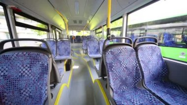 Rows of empty seats inside bus — Stock Video