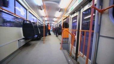 People sit in tram — Stockvideo