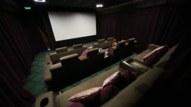 Special hall with soft sofas in cinema — Stock Video