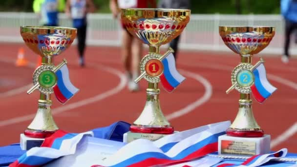 Prize cups for winners of Moscow supermarathon — Vídeo de stock