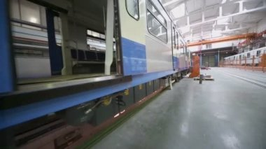 New trains at assemblage in workshop — Stock Video