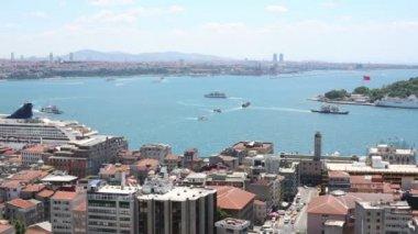 Cityscape with Bosphorus Strait — Stock Video