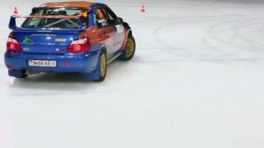 Goloborodko and Tsyrfa ride in racing car — Video Stock