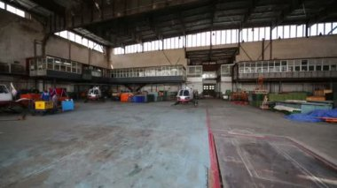 Hangar with helicopters of Centrospas squad. — Stock Video