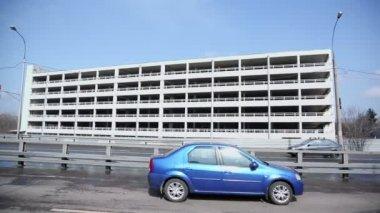 Transport ride near construction of parking — Stock Video