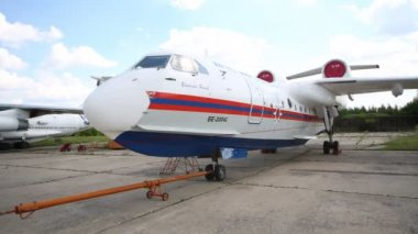 Multipurpose amphibious aircraft Be-200ES-E. — Stock Video