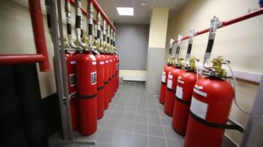 Powerful industrial fire extinguishing system — Stock Video