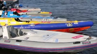 Power boats on Powerboat Race Show — Stock Video