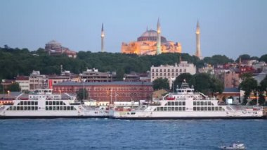 Ferries on background of St. Sophia Cathedral — Stock Video