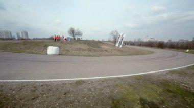 Race car passes road turn — Stock Video