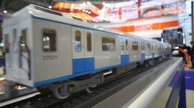 Model wagon train at Eurasian Congress — Stock Video