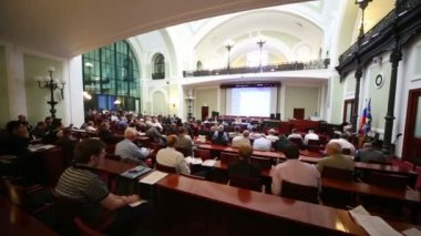 Listeners on Russia Marine Industry Conference — Stock Video