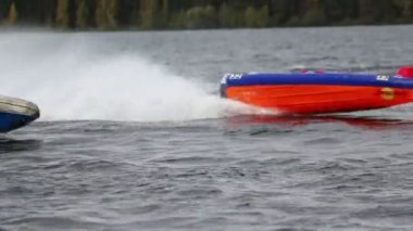 Contest of power boats on Powerboat Race — Stock Video