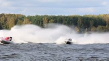 Sport boats turns — Stock Video