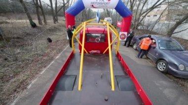 Truck of Estonia team starts ride — Stockvideo