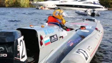 Sport boat at Powerboat Race Show — Stock Video