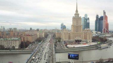 Cityscape with Hotel Ukraine, Moscow — Стоковое видео