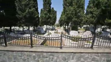 View from moving car in cemetery — Wideo stockowe