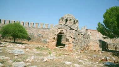Byzantine church old ruin in Alanya — Stock Video
