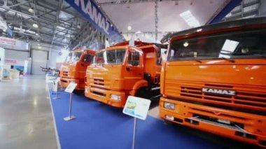 Kamaz trucks at International Specialized Exhibition — Stock Video