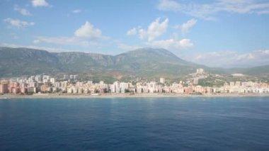 View to sea, mountain and coastline — Stock Video