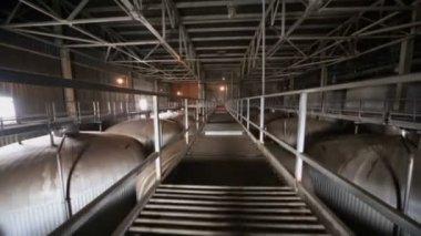 Bridge in dark hangar with big cisterns — Stock Video