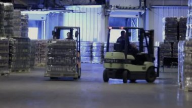 Workers on loader machines in warehouse — Stock Video