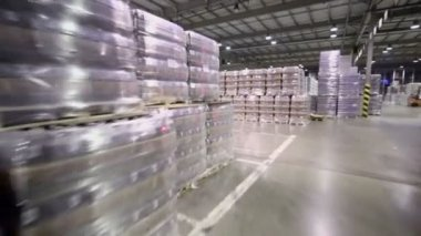 Many stacks with packaged beer in warehouse — Stock Video