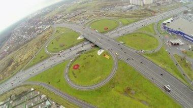 Transport ride by freeway and Shchelkovskaya overpass — Stock Video