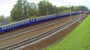 Passenger trains on railway — Stock Video