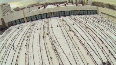 Metro train depot with railway tracks — Stock Video