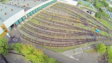 Subway depots at city — Stockvideo
