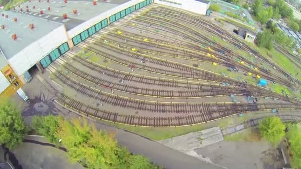 Subway depots at city — Vídeo de stock
