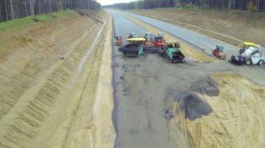 Construction of new asphalt road — Stock Video