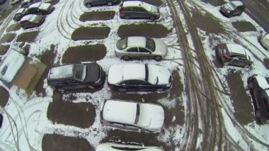 Parking with cars covered with snow — Stok video