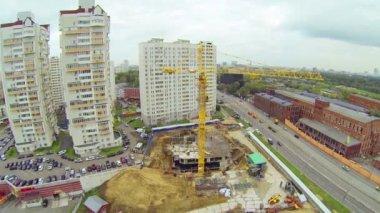 Crane on construction site — Stock Video