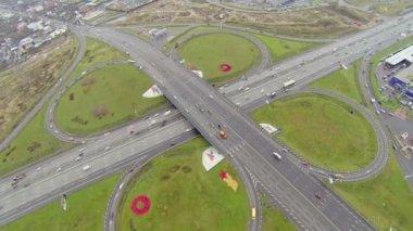 Transport ride by highway and Shchelkovskaya overpass — Stock Video
