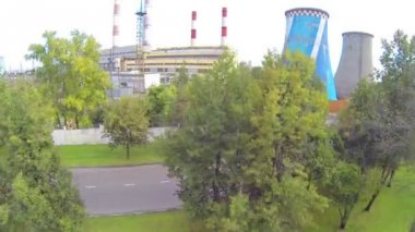 Cooling towers of power plant — Stock Video