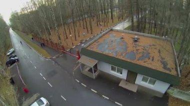 Road near edifice of control post — Stock Video