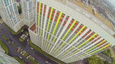 Colored new tall buildings during day — Stock Video