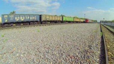 Locomotives moving on railway — Stock Video