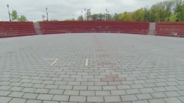 Paved square in park with playground — Stock Video