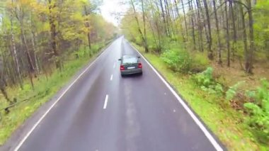 Car driving on asphalted road — Stock Video