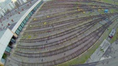 Many railway tracks — Стоковое видео